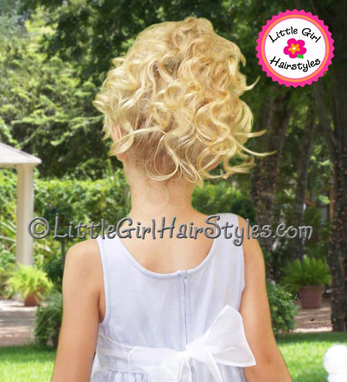 Little Girls Hairstyle - flowers in her hair back view