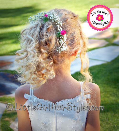 Flower Girls Hairstyle - Carnations  babies breath