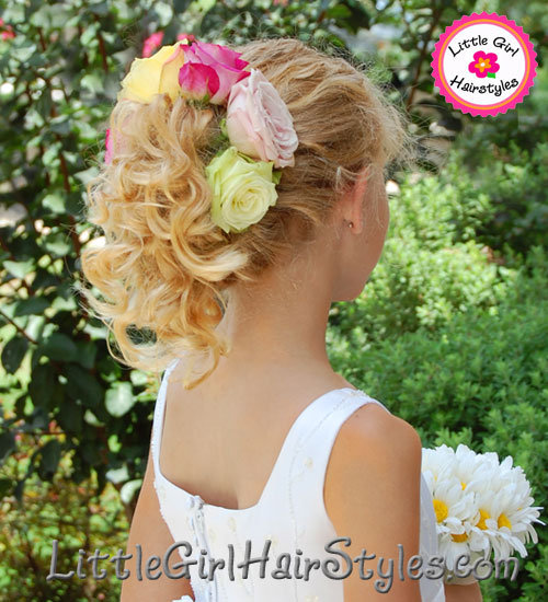 Roses Updo Flower Girls Hairstyle