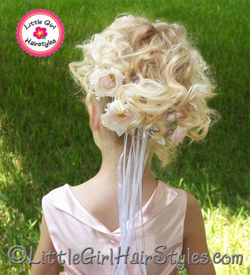 flower wreath hairstyle for flower girls back