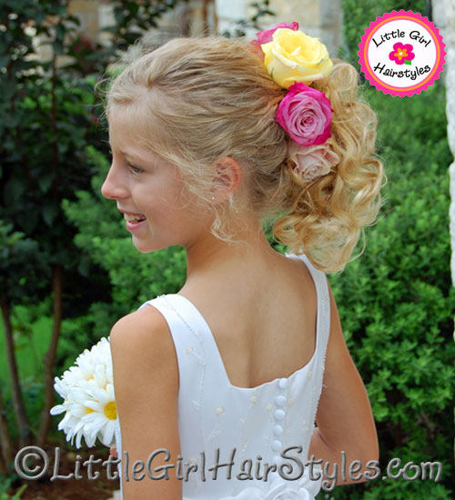 Flower Girls Hairstyle with Roses