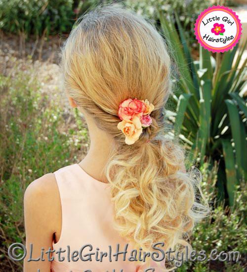 Little Girls Flip Ponytail Hairstyle