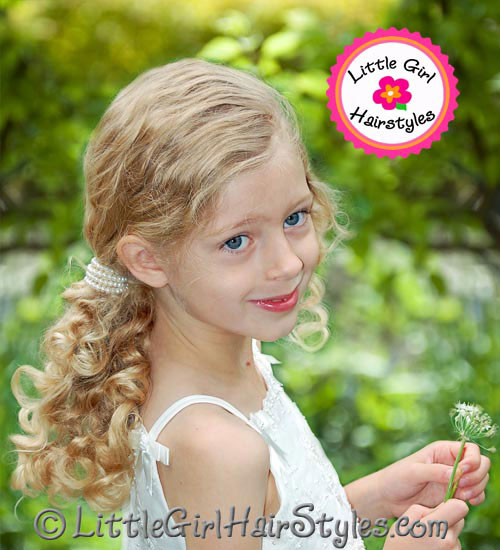 Pearl Ponytail Hairstyle for Little Girls