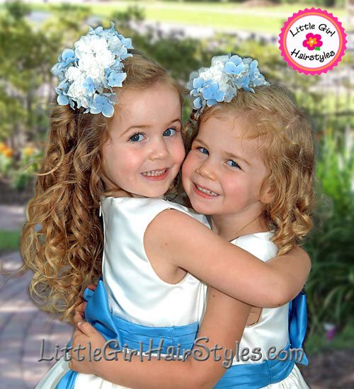 Little Flower Girls Hairstyle with Flowers