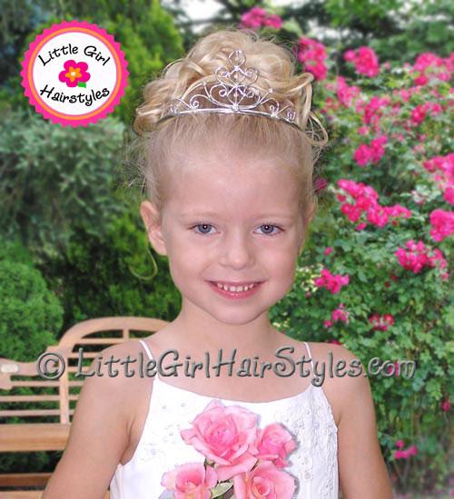 Toddler Tiara Updo Hairstyle for Girls