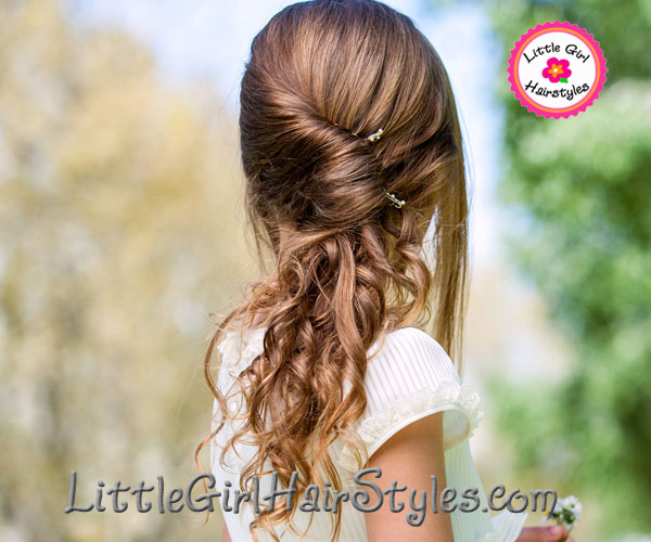Girls Low French Braid Twist Hairstyle with Curls