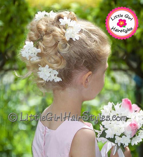 Little Flower Girls Updo Hairstyle