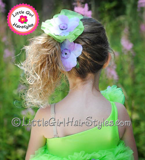 Girls Dance Hairstyle Side Ponytail with Flowers