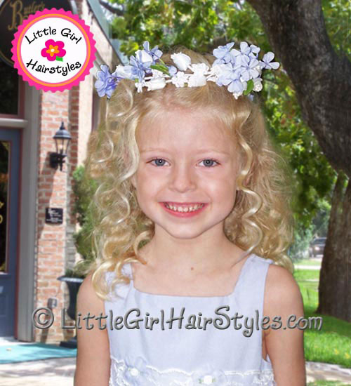 Flower Girls Hairstyle with Wedding Flower Halo
