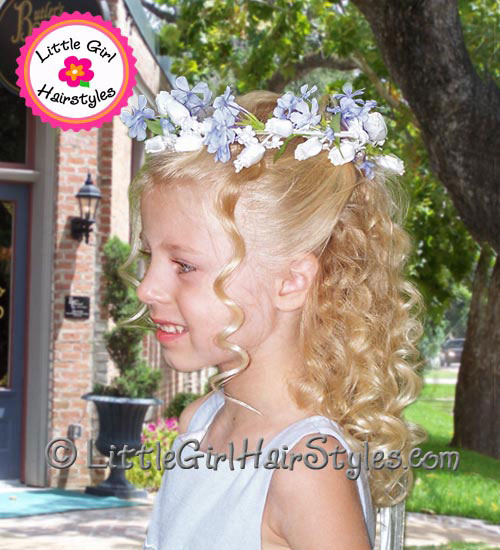 Flower Girls Hairstyle with Flower Halo