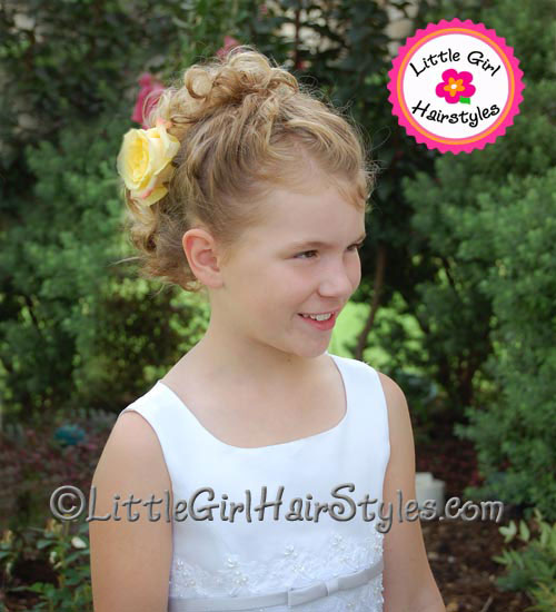 Girls Hairstyle for Young Girls Short Hair Updo